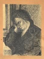 Jelzés Nélkül: Könyöklő. Tus, Toll, Papír, Kasírozva, üvegezett Keretben, 15×11 Cm - Unclassified