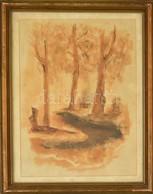 Jelzés Nélkül: Erdei árnyak. Akvarell, Papír. Üvegezett Keretben. 41x29 Cm - Unclassified