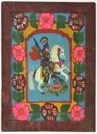 Jelzés Nélkül: Sárkányölő. Erdélyi Festett üveg Ikon, Fa Keretben, 37×26 Cm - Unclassified