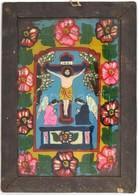 Jelzés Nélkül: INRI. Erdélyi Festett üveg Ikon, Fa Keretben, 37×26 Cm - Unclassified
