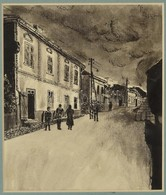 Jelzés Nélkül: Utcarészlet. Lavírozott Tus, Papír, 17×14 Cm - Unclassified