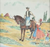 Jelzés Nélkül: Korsós Menyecske. Akvarell, Tus, Vászon, Kissé Sérült Fa Keretben, 21×22 Cm - Unclassified