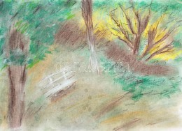 Jelzés Nélkül: Zöldellő Park. Pasztell, Papír, 29,5×42 Cm - Unclassified