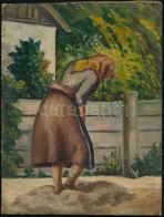 Jelzés Nélkül: Kertben Dolgozó Nő. Olaj, Karton, 25,5x19,5 Cm - Unclassified