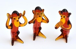 3 Db Színes üveg Majom Figura, M: 6 Cm - Verre & Cristal