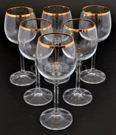 6 Db Aranyozott Szélű Boros Pohár Szép állapotban 16 Cm - Verre & Cristal