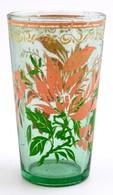 Díszes, Festett üveg Pohár, Kopásokkal, D: 7,5 Cm - Verre & Cristal