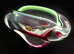 Bohemia Glass üveg Hamutál, Formába öntött, Anyagában Színezett, Matricával Jelzett, M: 7 Cm, H: 15 Cm - Verre & Cristal