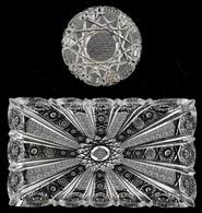 Csiszolt ólomkristály Hamutál és Tálca, Jelzetlen, Apró Kopásokkal, Csorbával, D: 12,5 Cm, 17,5x29,5 Cm - Verre & Cristal