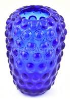 Kobaltkék, Hólyagos, Fújt üvegváza, Apró Kopásokkal, M: 13,5 Cm - Verre & Cristal