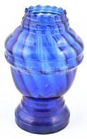 Kobaltkék, Szalagos, Préselt üvegváza, Apró Kopásokkal, M: 21,5 Cm - Verre & Cristal