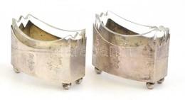 Üveg Só/borstartó, Ezüst Foglalatban, 2 Db, Jelzett, Csorbával, 4x5,5 Cm - Verre & Cristal