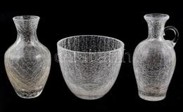 Süssmuth Jelzésű üveg Bonbonier és 2 Db Váza, Bonbonieren Repedés, M: 10,5 Cm, 15,5 Cm, 16 Cm - Verre & Cristal