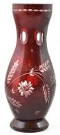 Piros, üveg Váza, Apró Kopásokkal, M: 24,5 Cm - Verre & Cristal