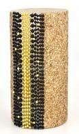 Kőhalmi Nóra (1971-): Üveg Váza. Aranyszínű Parafa és Gyöngy Dekorációval, M: 29,5 Cm, D: 15 Cm - Verre & Cristal