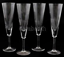 Össz. 4 Db Bohemia Csehszlovák üveg Pezsgős Pohár, Ebből 2 Db Matricával Jelzett, Apró Kopásnyomokkal, M: 23 Cm - Verre & Cristal