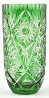 Zöld ólomkristály üveg Váza, Apró Kopásnyomokkal, M: 25, D: 12,5 Cm - Verre & Cristal
