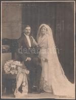 Cca 1929 Esküvői Portré, Keményhátú Fotó, Kozmann G. és Tsa Debreceni Műhelyéből, Hátulján Feliratozott, 37x28 Cm - Other Collections