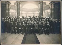 """1929 """"Főnökök Csoportképe A Szent Gellért Szálló Földszinti Termében"""", Hátoldalon Feliratozott Fotó, 16,5×23 Cm - Other Collections"""