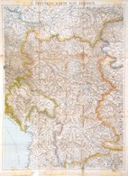 Cca 1915 Szerbia Térképe. Hajtásoknál Kis Szakadásokkal 100x75 Cm - Mappe