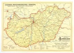 Cca 1930 Csonka-Magyarország Vasúti Térképe 49x34 Cm - Mappe