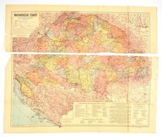 Cca 1930 Magyarország Térképe A Trianoni Határokkal .s Az M. Kir. Államrendőrség Kerületeivel. Két Részre Szakadva. 70x4 - Mappe