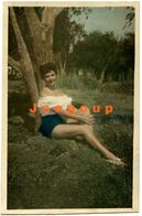 Old Colored Photo Outdoor Portrait Sensual Woman Girl Pin Up - Anonymous Persons