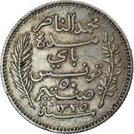 Monnaie, Tunisie, Muhammad Al-Nasir Bey, 50 Centimes, 1916, Paris, SUP, Argent - Tunisia
