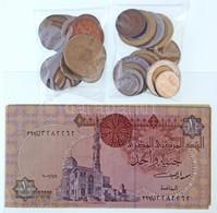 32db-os Külföldi érme (főleg Nagy-Britannia, Franciaország, Olaszország) + 4db Bankjegy (Egyiptom) T:2-3 32pcs Of Coins  - Coins & Banknotes