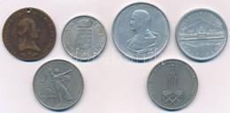 """1800B 6kr Cu """"I. Ferenc"""" Lyukasztott + 1941-1945. 2P-5P Al (3xklf) + Szovjetunió 1975-1977. 1R Cu-Ni (2xklf) T:2-3  1800 - Munten & Bankbiljetten"""