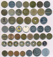 50 Db-os Vegyes Magyar és Külföldi Zseton, Bárca Tétel T:vegyes  50pcs Of Mixed Tokens, Labels From Different Countries  - Munten & Bankbiljetten