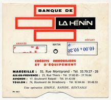 MARSEILLE - Disque De Stationnement Pub Banque De La Hénin - Publicités