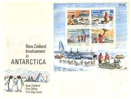(G 8) New Zealand - MiniSheet On Cover - Antarctica - 1984 - FDC