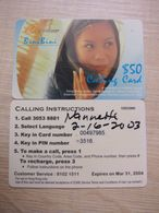 Prepaid Phonecard, Lady In Phone, Used - Hongkong