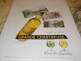 ANCIENNE PUBLICITE LIQUEUR GRANDE CHARTREUSE  1953 - Alcools