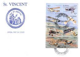 (G 8) St Vincent Mini-sheet On Cover - Souvenir - 1999 (airplanes / Avions) - St.Vincent Y Las Granadinas
