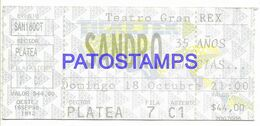 139218 ARGENTINA BUENOS AIRES TEATRO GRAN REX ARTIST SANDRO ENTRADA TICKET NO POSTAL POSTCARD - Tickets De Concerts