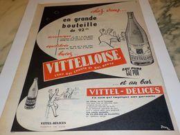 ANCIENNE PUBLICITE CHEZ VOUS LA GRANDE BOUTEILLE  VITTELOISE  1955 - Affiches
