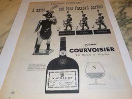 ANCIENNE  PUBLICITE 3 NOTES COGNAC  COURVOISIER 1956 - Alcools