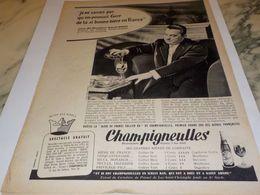 ANCIENNE PUBLICITE BIERE CHAMPIGNEULLES  AVEC RAOUL GROS DE BARBES MEUBLES 1958 - Alcools