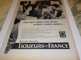 ANCIENNE PUBLICITE DEVANT LA TELE  LIQUEUR  DE FRANCE  1958 - Affiches