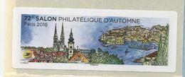 2018 LISA 2 VIGNETTE VIERGE 72ème Salon Philatélique D'automne à Paris - 2010-... Illustrated Franking Labels