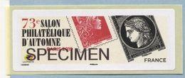 2019 LISA 2 SPECIMEN 73 ème Salon Philatélique D'automne à Paris - 2010-... Illustrated Franking Labels