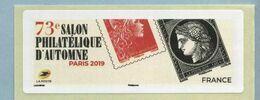 2019 LISA 2 VIERGE 73ème Salon Philatélique D'automne à Paris - 2010-... Illustrated Franking Labels