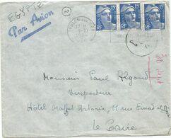 GANDON 15FR BLEU X3 LETTRE AVION TOULOU SUR MER 1.10.1954 POUR LE CAIRE EGYPTE - 1945-54 Maríanne De Gandon