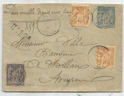 ENTIER 15C SAGE  ENVELOPPE +SAGE 40CX2+10C CHARGE 2350FR RODEZ AVEYRON 1898 POUR MILLAU - Marcophilie (Lettres)