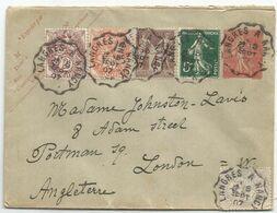ENTIER 10C SEMEUSE LIGNEE ENVELOPPE + SAGE 4C+ BLANC 2C+3C+1C +5C SEMEUSE CONVOYEUR LANGRES A NANCY 1907 LONDRES - Poststempel (Briefe)