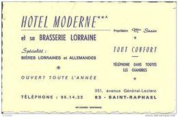 83 SAINT RAPHAEL  - HOTEL MODERNE  ( Carte De Visite ) - Saint-Raphaël