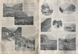 Le Percée Des Alpes Bernoises (Bern - Lötschberg - Simplon) - La Cité à Kandersteg - Deux Pages Originaux 1907 - Historische Dokumente