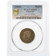 Cambodge, Médaille, Norodom Ier, 1860, Gradée, PCGS, MS65, 35530307, Laiton - Entriegelungschips Und Medaillen